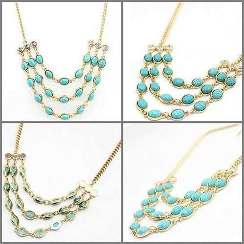 Beauteous Turquoise Necklace With 3 Strands-JewelryKorner-com