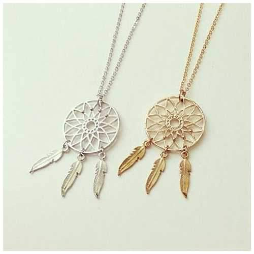 BELIEVE The Dream Catcher Necklaces In Yellow And White Gold Plating-JewelryKorner-com