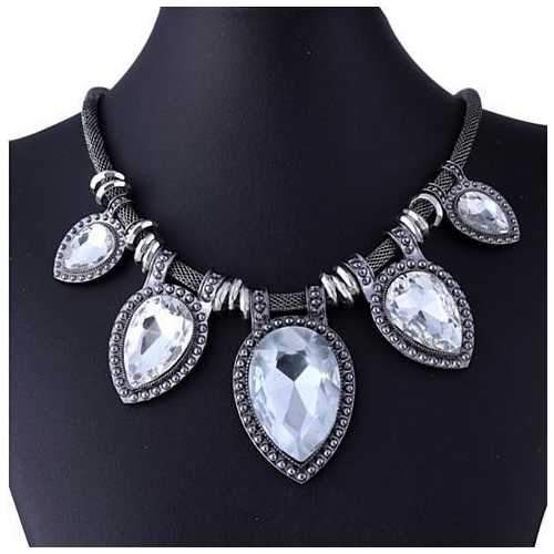 BeYOUtiful Crystal And Antique Silver Style Statement Necklace-JewelryKorner-com