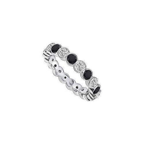 Black and White Diamond Eternity Band : 14K White Gold – 1.00 CT Diamonds-JewelryKorner-com