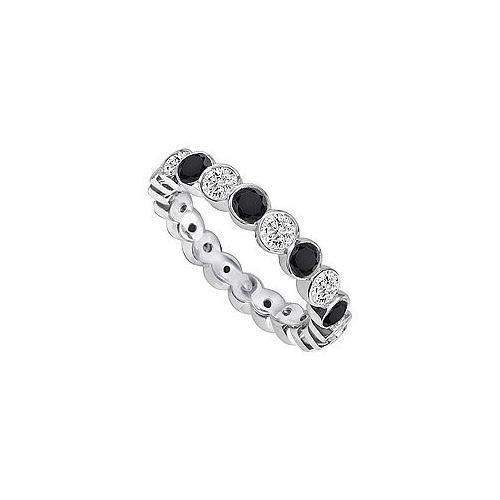 Black and White Diamond Eternity Band : 14K White Gold – 2.00 CT Diamonds-JewelryKorner-com