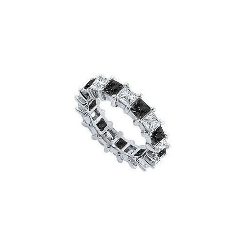 Black and White Diamond Eternity Band : 14K White Gold – 5.00 CT Diamonds-JewelryKorner-com