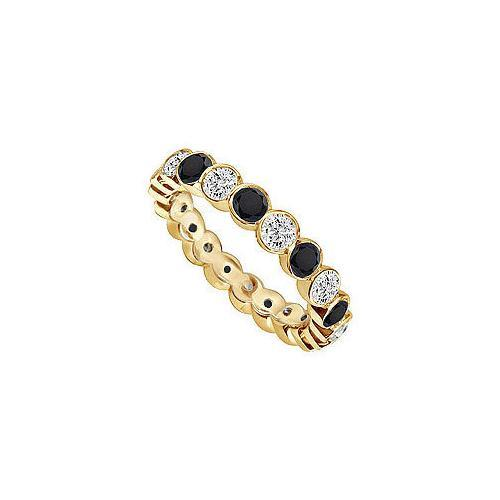 Black and White Diamond Eternity Band : 14K Yellow Gold – 1.00 CT Diamonds-JewelryKorner-com