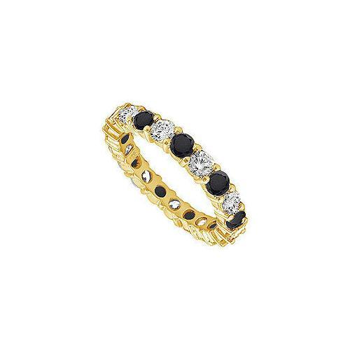 Black and White Diamond Eternity Band : 14K Yellow Gold – 2.00 CT Diamonds-JewelryKorner-com