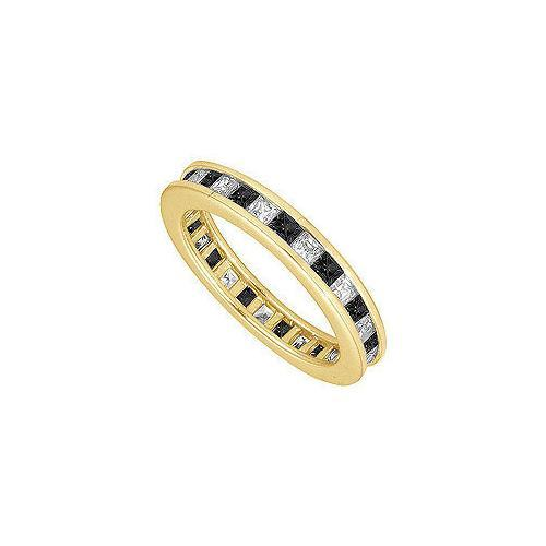 Black and White Diamond Eternity Band : 14K Yellow Gold – 3.00 CT Diamonds-JewelryKorner-com