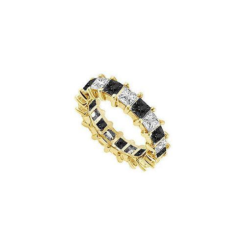 Black and White Diamond Eternity Band : 14K Yellow Gold – 4.00 CT Diamonds-JewelryKorner-com