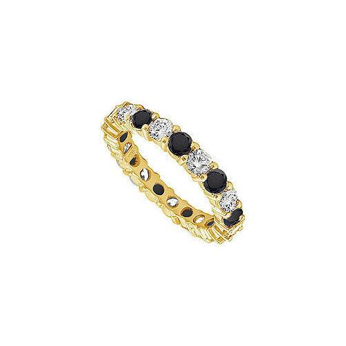 Black and White Diamond Eternity Band : 14K Yellow Gold – 5.00 CT Diamonds-JewelryKorner-com
