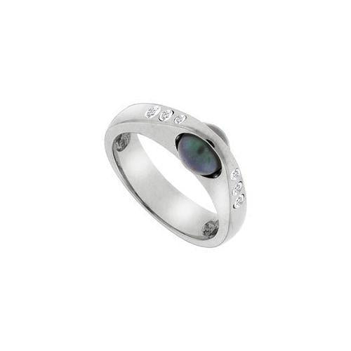 Black Cultured Pearl and Diamond Ring : 14K White Gold - 0.12 CT Diamonds-JewelryKorner-com