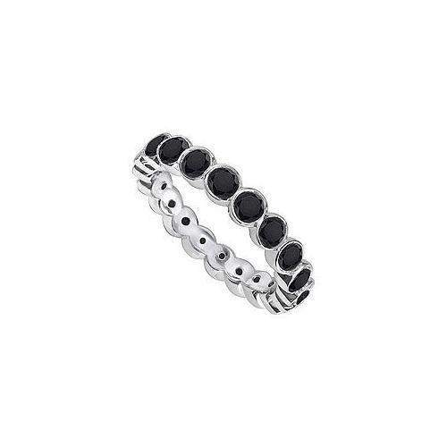 Black Diamond Eternity Band : 14K White Gold - 1.00 CT Diamonds-JewelryKorner-com