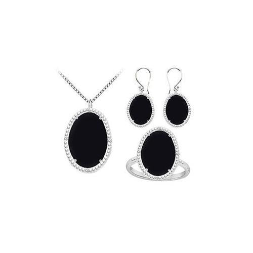 Black Onyx and Cubic Zirconia Pendant with Earrings & Ring Set in Sterling Silver 60.32 CT TGW-JewelryKorner-com