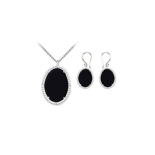 Black Onyx and Cubic Zirconia Pendant with Earrings Set in Sterling Silver 45.24 CT TGW-JewelryKorner-com