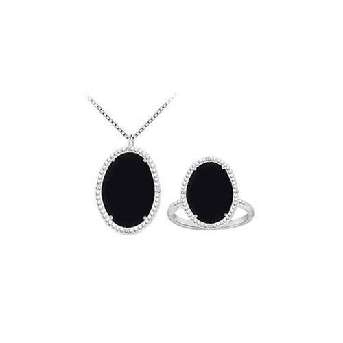Black Onyx and Cubic Zirconia Pendant with Ring Set in Sterling Silver 30.16 CT TGW-JewelryKorner-com