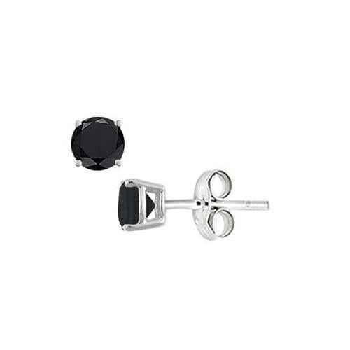 Black Onyx Stud Earrings in Sterling Silver 2.00 CT TGW-JewelryKorner-com