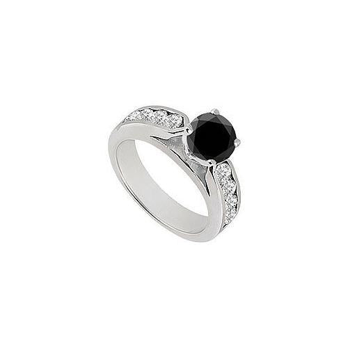 Black & White Diamond Engagement Ring 14K White Gold 0.75 CT TDW-JewelryKorner-com