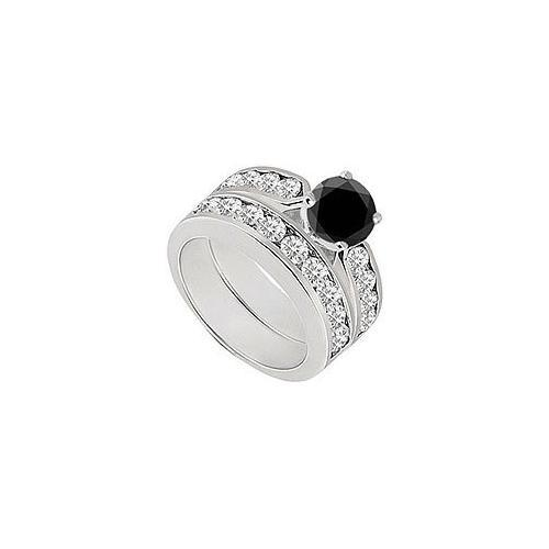 Black & White Diamond Engagement Ring with Wedding Band Sets 14K White Gold 1.00 CT TDW-JewelryKorner-com