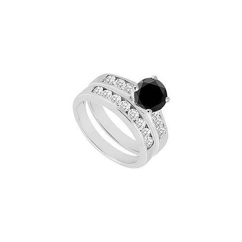 Black & White Diamond Engagement Ring with Wedding Band Sets 14K White Gold 1.50 CT TDW-JewelryKorner-com