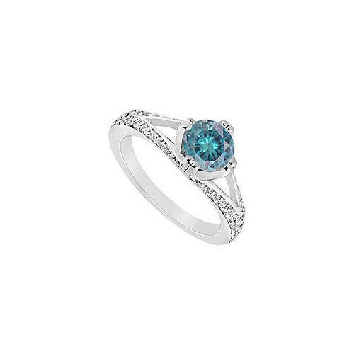Blue Diamond Engagement Ring : 14K White Gold - 1.00 CT Diamonds-JewelryKorner-com