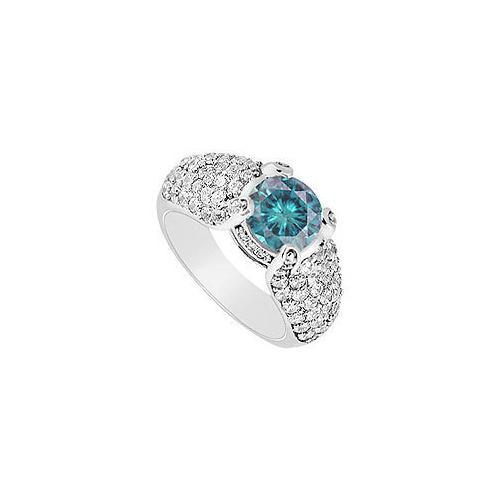 Blue Diamond Engagement Ring : 14K White Gold - 2.00 CT Diamonds-JewelryKorner-com