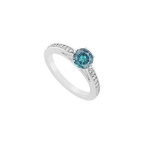 Blue Diamond Ring : 14K White Gold - 0.75 CT Diamonds-JewelryKorner-com