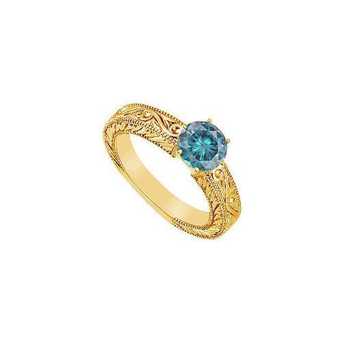 Blue Diamond Ring : 14K Yellow Gold - 0.50 CT Diamonds-JewelryKorner-com
