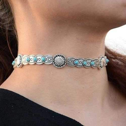 Blue Moon Choker Necklace In Antique Finish-JewelryKorner-com