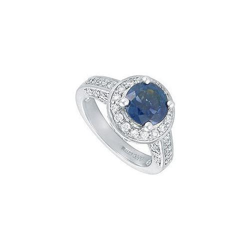 Blue Sapphire and Diamond Engagement Ring : Platinum - 4.00 CT TGW-JewelryKorner-com