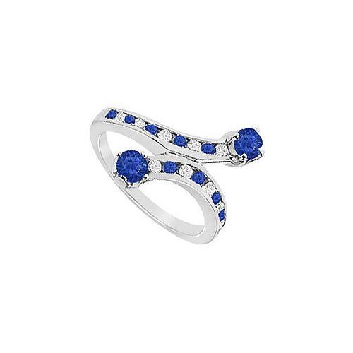 Blue Sapphire and Diamond Ring : 14K White Gold - 1.00 CT TGW-JewelryKorner-com
