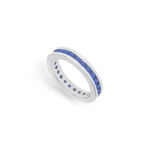 Blue Sapphire Eternity Band : 14K White Gold – 1.00 CT TGW-JewelryKorner-com
