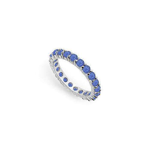 Blue Sapphire Eternity Band : 14K White Gold – 2.00 CT TGW-JewelryKorner-com