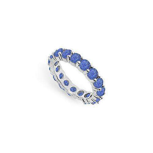 Blue Sapphire Eternity Band : 14K White Gold – 4.00 CT TGW-JewelryKorner-com