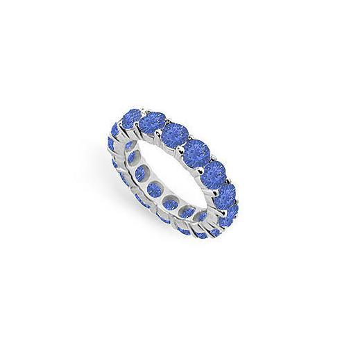 Blue Sapphire Eternity Band : 14K White Gold – 5.00 CT TGW-JewelryKorner-com