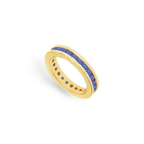 Blue Sapphire Eternity Band : 14K Yellow Gold – 1.00 CT TGW-JewelryKorner-com