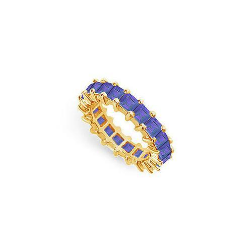Blue Sapphire Eternity Band : 14K Yellow Gold – 4.00 CT TGW-JewelryKorner-com