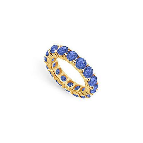 Blue Sapphire Eternity Band : 14K Yellow Gold – 5.00 CT TGW-JewelryKorner-com