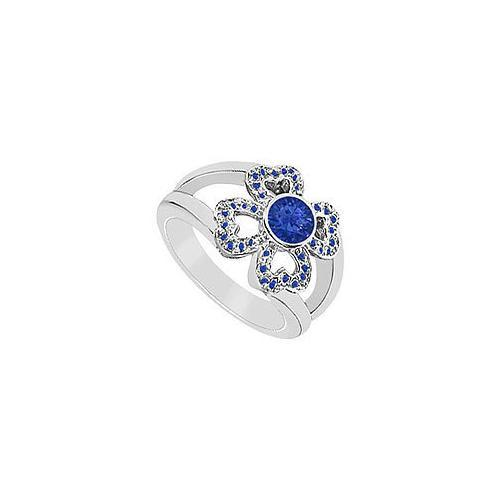 Blue Sapphire Ring : 14K White Gold - 0.50 CT TGW-JewelryKorner-com