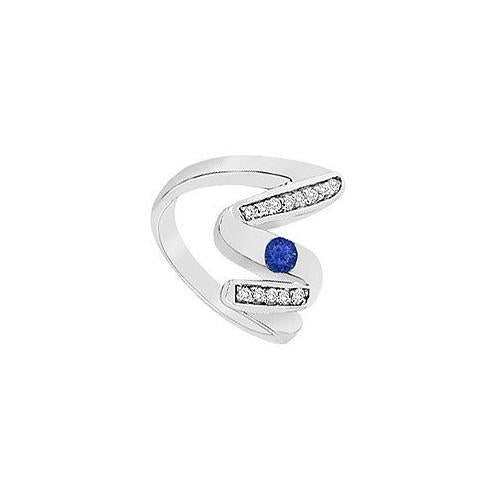 Blue Sapphire Zig-Zag Ring : 14K White Gold : 0.50 CT TGW-JewelryKorner-com
