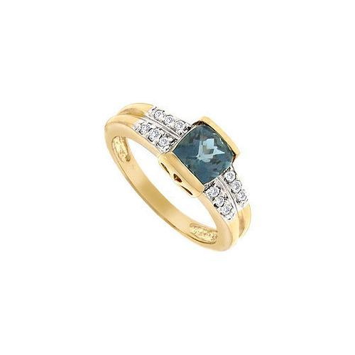 Blue Topaz and Diamond Ring : 14K Yellow Gold - 1.50 CT TGW-JewelryKorner-com