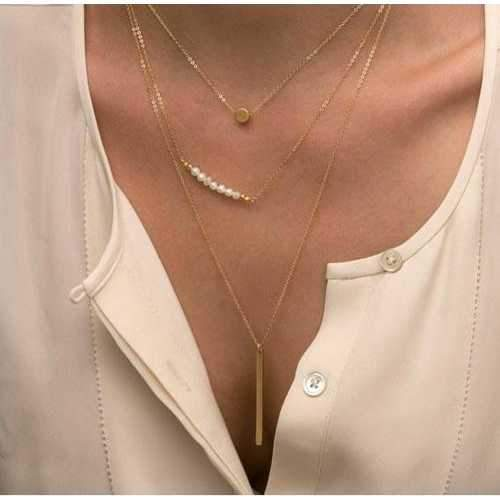 BOGO DEAL - I Smile Because Of You Layered Gold Necklace With Pearls-JewelryKorner-com