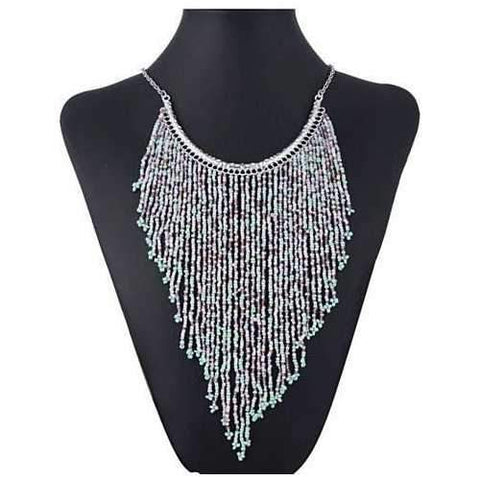 Bohemian Beads Waterfall Necklace-JewelryKorner-com