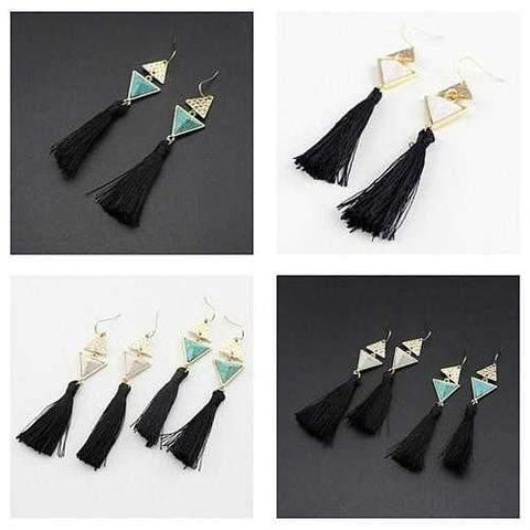 Boho Chic Pyramid Earrings In Stones And Tassels-JewelryKorner-com
