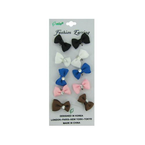 Bow earrings card with five pair ( Case of 96 )-JewelryKorner-com