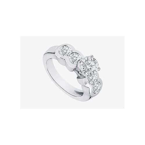 Channel Set Round Diamond Engagement Ring in 14K White Gold 2.20 Carat Diamonds-JewelryKorner-com