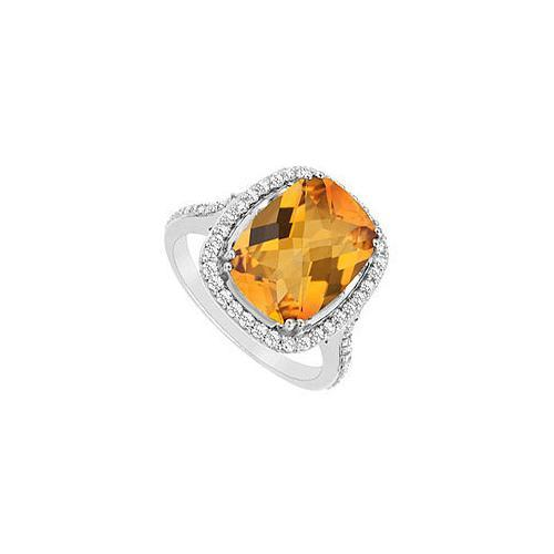Citrine and Cubic Zirconia Ring : .925 Sterling Silver - 9.00 CT TGW-JewelryKorner-com