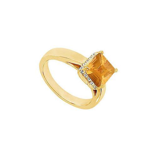 Citrine and Diamond Ring : 14K Yellow Gold - 1.00 CT TGW-JewelryKorner-com