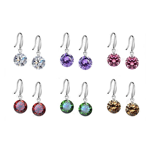 Colorful Diamonds in the Sky Drilled Austrian Crystal Diamond on a Sterling Silver hook earrings-JewelryKorner-com