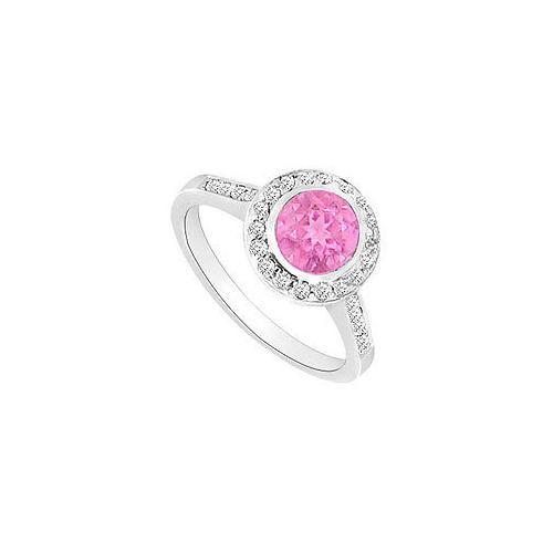 Created Pink Sapphire and Cubic Zirconia Engagement Ring .925 Sterling Silver 1.00 CT TGW-JewelryKorner-com