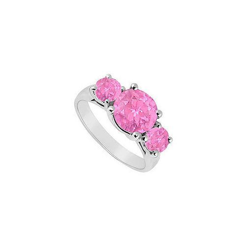 Created Pink Sapphire Three Stone Ring .925 Sterling Silver 3.00 CT TGW-JewelryKorner-com