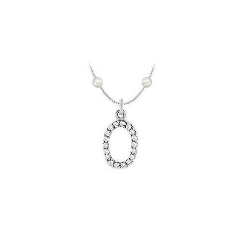 Cubic Zirconia and Cultured Pearl Numeric 0 Charm Pendant : .925 Sterling Silver - 0.08 CT TGW-JewelryKorner-com