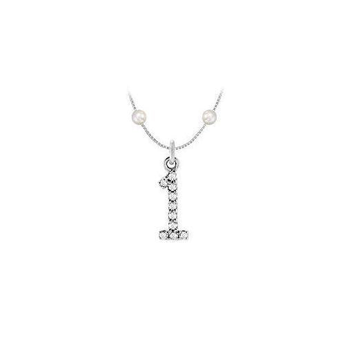 Cubic Zirconia and Cultured Pearl Numeric 1 Charm Pendant : .925 Sterling Silver - 0.05 TGW-JewelryKorner-com