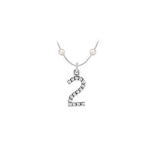 Cubic Zirconia and Cultured Pearl Numeric 2 Charm Pendant : .925 Sterling Silver - 0.07 CT TGW-JewelryKorner-com